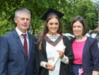 Rachel Molloy from Oughterard with her parents Eamonn and Catriona after she was conferred with the degree of Honours Bachelor of Science (Speech and Language Therapy) at NUI Galway.