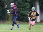 Presentation College, Athenry, v Loreto Secondary School, Kilkenny, Tesco All-Ireland Post Primary Junior A Camogie Final in Banagher.<br /> Presentation College, Athenry goalkeeper Laura Freeney, and Moya O'Brien, Loreto Secondary School, Kilkenny