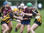 Presentation College, Athenry, v Loreto Secondary School, Kilkenny, Tesco All-Ireland Post Primary Junior A Camogie Final in Banagher.<br /> Sabrina Rabbitte and Emma Joyce, Presentation College, Athenry, and Emma Manogue (left) and Asha McHardy, Loreto Secondary School, Kilkenny