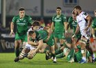Connacht v Ulster Guinness PRO14 game at the Sportsground.<br /> Connachts Shane Delahunt and Ulster's Iain Henderson
