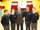 Brother Niall Coll, with pupils Jack Vickers, Michael Hynes, Conor Hannelly and Cian Hogan,  at the St. Patricks National School Lombard Street re-union  held at the school.