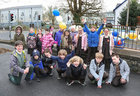 Rang 3 pupils celebrate their return to Scoil Fhursa which reopened on Monday.