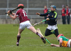Galway v Offaly Allianz Hurling League Division 1B game at O'Connor Park, Tullamore.<br /> Galway's Conor Whelan scoring goal past Offaly gioalkeeper James Dempsey