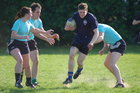 Action from week 2 of Tag Rugby at Galway Corinthians<br /> <br /> Aodán Ó Cuimín of Fidelity Flyers in their match against The Scrummie Dummies