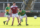 Claregalway v Williamstown Intermediate Football Championship final at the Pearse Stadium.<br /> Eoghan Commins and Darren Hennessy, Claregalway, and Michael Smyth, Williamstown