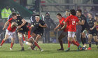 Connacht v Munster Guinness PRO14 game at the Sportsground.<br /> Connacht's Sean Masterson and Denis Buckley and Munster's Chris Farrell and Damian De Allende