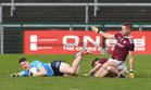 Galway v Dublin Allianz Football League Division 1 Round 7 game at Pearse Stadium.<br /> Galway's Gary O'Donnell and James Foley and Dublin's John Small<br />