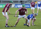 Galway v Laois 3rd round game in the Allianz National Hurling League at the Pearse Stadium.<br /> Galway's David Burke and Aidan Corby, Laois