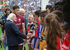 Galway v Waterford All-Ireland Senior Hurling Championship final at Croke Park.<br /> Galway captain David Burke introduces President Michael D Higgins to his team and young players before the All-Ireland senior hurliong final at Croke Park.