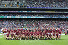 Galway v Waterford All-Ireland Senior Hurling Championship final at Croke Park.<br /> The Galway panel before the start of the 2017 All-Ireland senior hurling final against Waterford at Croke Park