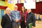 at the St. Patricks National School Lombard Street re-union  held at the school, were: Brother Cammillus Regan, Rev Anthony Finn, School Principal Marian Barrett and Frank Cooke,Newcastle.