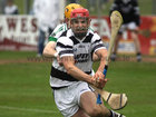 Sarsfields, Ian Skehill,<br /> and<br /> Turloughmore's, Fergal Moore,<br /> during the Senior Hurling Championship at Athenry.