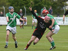 <br /> Tommie Larkins, Declan Garvey,<br /> and<br /> Moycullen's, Niall Mannion and Richie Deavney,<br /> during the Senior Hurling Championship at Athenry.