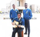 <br /> Students Terry Ndi For, Anthony Laye and John Ogo, providing the music, at the raising of the Yellow flag which was awarded in recognition of the work completed by Students  Diversity Committee at Merlin College, which worked towards inclusivity of all cultures and ethnicities celebrating diversity and challenging racism and discrimination. Also in the picture are John Cleary, School Principal Teachers and Students