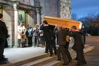 The remains of of former Bishop of Galway,  Most Rev Eamonn Casey, are carried into Galway Cathedral.