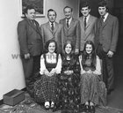 At the annual dinner of O'Flaherty Markets, Galway, held in Flannery's Hotel, Galway, in November 1973. The social committee seated (L to R): Mrs Deirdre Murray, Ms Nuala Molloy, Ms Helene Clancy. Standing: John Warren, Christy O'Flaherty, Bill Kealy, Ray McManus & Tommy Glynn