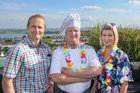 Lough Rea Hotel & Spa Head Chef Mareks Kudla, with Adrian and Melissa Lawless of Corrib Food Products, at the Loughrea Hotel & Spa Corporate BBQ Evening.