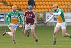 Galway v Offaly Allianz Hurling League Division 1B game at O'Connor Park, Tullamore.<br /> Galway's Johnny Coen and Offaly's Cillian Kelly and Sean Gardiner