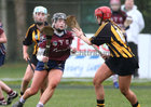 Presentation College, Athenry, v Loreto Secondary School, Kilkenny, Tesco All-Ireland Post Primary Junior A Camogie Final in Banagher.<br /> Grace Leen, Presentation College, Athenry, and Ava Shefflin and Chloe Delaney, Loreto Secondary School, Kilkenny<br /> <br />