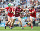 Galway v Cork All-Ireland Minor Hurling Championship final at Croke Park.<br /> Galway's Donal Mannion and Cork's Aaron Walsh Barry and Mark Gill