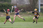 Presentation College, Athenry, v Loreto Secondary School, Kilkenny, Tesco All-Ireland Post Primary Junior A Camogie Final in Banagher.<br /> Emma Joyce, Presentation College, Athenry, and Hannah Larkin and Emma Manogue, Loreto Secondary School, Kilkenny
