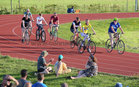 Galway comedian Sir Stevo Timothy (Stephen Timothy) accompanied by supporters during his charity cycle at the Westside running track last weekend.