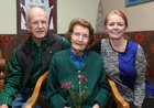 Bridie Daly with her daughter Maryanne Volk and her husband Bill Volk at her 106th birthday party in O'Meara's, Portumna