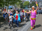 David Naylor from Australia is Guru Dudu taking the public on a 'silent disco' walk through the city centre to the Spanish Arch as part of Galway International Arts Festival.