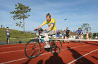 Stevo Timothy as he completes his 5k charity cycle at the weekend. Stevo, who has incomplete paraplegia after a motorbike accident in 2015, has raised over €55,000 through his GoFundMe page after he completed the 5k charity cycle on on the Westside running track in aid of the Irish Wheelchair Association. Stevo uses a wheelchair and walks using crutches.