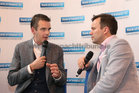 IFA President Joe Healy speaking with Galway Bay FM's Neil Molloy (aka Molly) at Oranmore Enterprise Town Business, Sports and Community Expo, hosted by the Bank of Ireland at Calasanctius College last weekend.
