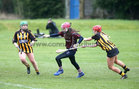 Presentation College, Athenry, v Loreto Secondary School, Kilkenny, Tesco All-Ireland Post Primary Junior A Camogie Final in Banagher.<br /> Presentation College, Athenry, goalkeeper Laura Freeney, and Moya O'Brien and Ava Shefflin, Loreto Secondary School, Kilkenny