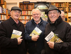 Eoghan Ó Riordán and historians William Henry and Peadar O'Dowd at the launch of Padraic McCormack's book 'Beneath the Silence' in Charlie Byrne's Bookshop.