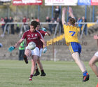 Galway v Roscommon Minor Football Championship game at Tuam Stadium.<br /> Paul Kelly, Galway, and Jack Lohan, Roscommon