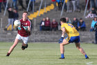 Galway v Roscommon Minor Football Championship game at Tuam Stadium.<br /> Aidan Hallorean, Galway, and Jonathan Hester, Roscommon