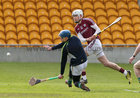 Galway v Offaly Allianz Hurling League Division 1B game at O'Connor Park, Tullamore.<br /> Galway's Jason Flynn scoring goal past Offaly goalkeeper James Dempsey