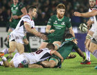 Connacht v Ulster Guinness PRO14 game at the Sportsground.<br /> Colby Fainga'a (tackled by Ulsters Johnny McPhillips) passes the ball to Sean O'Brien
