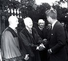 President John F Kennedy visited Galway in June 1963, five months before his assassination. <br /> <br /> He landed in a helicopter at the Sportsground in College Road where he was greeted by Mayor of Galway, Paddy Ryan. <br /> <br /> They proceeded by motorcade to Eyre Square where the President made a speech and was conferred with the freedom of the City. <br /> <br /> The motorcade then went through the town to Salthill where the President was taken by helicopter from the car park beside Seapoint to Limerick.<br /> <br /> The President is greeted by Alderman Fintan Coogan and other councillors before his address at Eyre Square