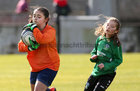 Salthill Devon B v Colemanstown United Under 12 Girls Division 1 Cup final at Eamonn Deacy Park.<br /> Salthill Devon goalkeeper Dariana Todosi