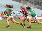 Galway v Mayo 2019 TG4 Connacht Ladies Senior Football Final replay at the LIT Gaelic Grounds, Limerick.<br /> Megan Glynn, Galway, and Sinéad Cafferky and Roisín Flynn, Mayo