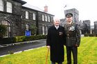 <br /> <br /> Lt Col (Retired}) Ned Cusack, Moyculln at his hundred Birthday Party, at Dun Ui Mhaoiliosa Renmore , with Lt Col rank Flanner OC !Cn Cois.