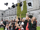 Doctors, graduates of the College of Medicine, Nursing and Health Sciences, celebrate after they were conferred with their degrees at NUI Galway this week.