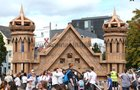 The People Build replica of the Aula Maxima at NUI Galway, built from cardboard boxes and tape, after it was built over the weekend at Eyre Square as part of Galway International Arts Festival.