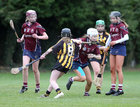 Presentation College, Athenry, v Loreto Secondary School, Kilkenny, Tesco All-Ireland Post Primary Junior A Camogie Final in Banagher.<br /> Caoimhe Kelly, Ellen Burke (left) and Keisha Coleman, Presentation College, Athenry, and Rose Kelly and Moya O'Brien, Loreto Secondary School, Kilkenny