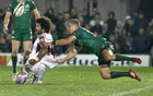 Connacht v Ulster Guinness PRO14 game at the Sportsground.<br /> Connacht's Tom Farrell and Ulster's Henry Speight