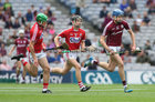 Galway v Cork All-Ireland Minor Hurling Championship final at Croke Park.<br /> Galway's Martin McManus and Cork's Daire Connery and Aaron Walsh Barry