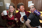 Marsha Maly, David Booth and Katie Creaven in happy mood before going on stage in the opening performance of the Renmore Pantomime, Beauty and the Beast, a new script by Peter Kennedy, at the Town Hall Theatre.