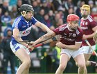 Galway v Laois Allianz Hurling League Division 1B Round 1 game at the Pearse Stadium.<br /> Tomas Monaghan, Galway, and Donncha Hartnett, Laois