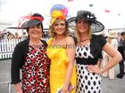 Award winning Galway milliner Suzie Mahoney with Claremorris ladies Karen Forde and Crona Esler at the Galway Races Ladies Day.<br /> <br />