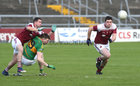 Claregalway v Williamstown Intermediate Football Championship final at the Pearse Stadium.<br /> Michael Smyth and Kieran Flatley, Williamstown and Eoghan Commins, Claregalway