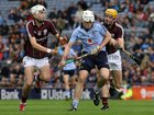 Galway's, Jason Flynn and Jack Carr,<br /> and<br /> Dublin's, Matthew McCaffrey,<br /> during the All-Ireland Minor Hurling Championship Final.<br />